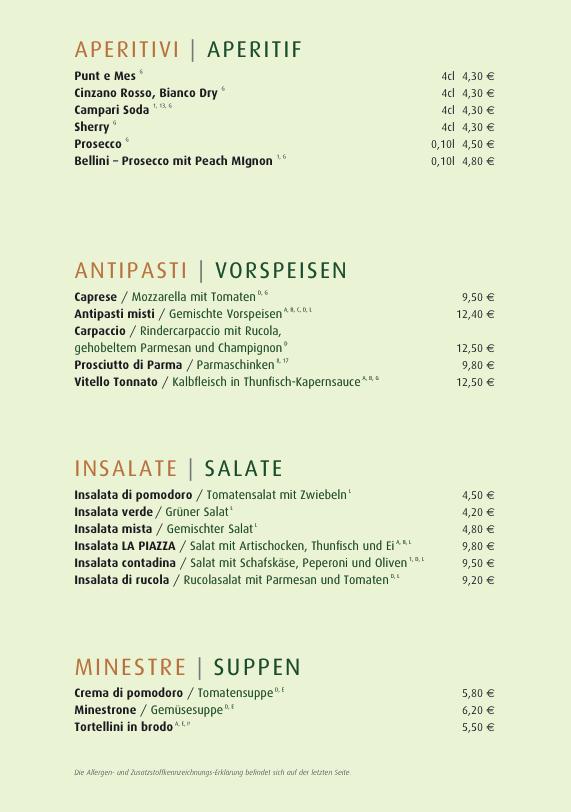 Speisekarte La Piazza In Schwabing